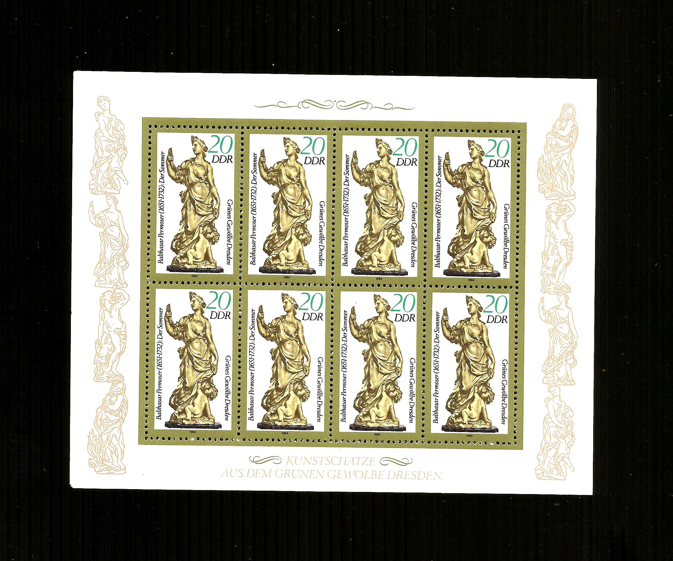 EAST DDR 1984 statuettes in green vaults mini sheets mnh