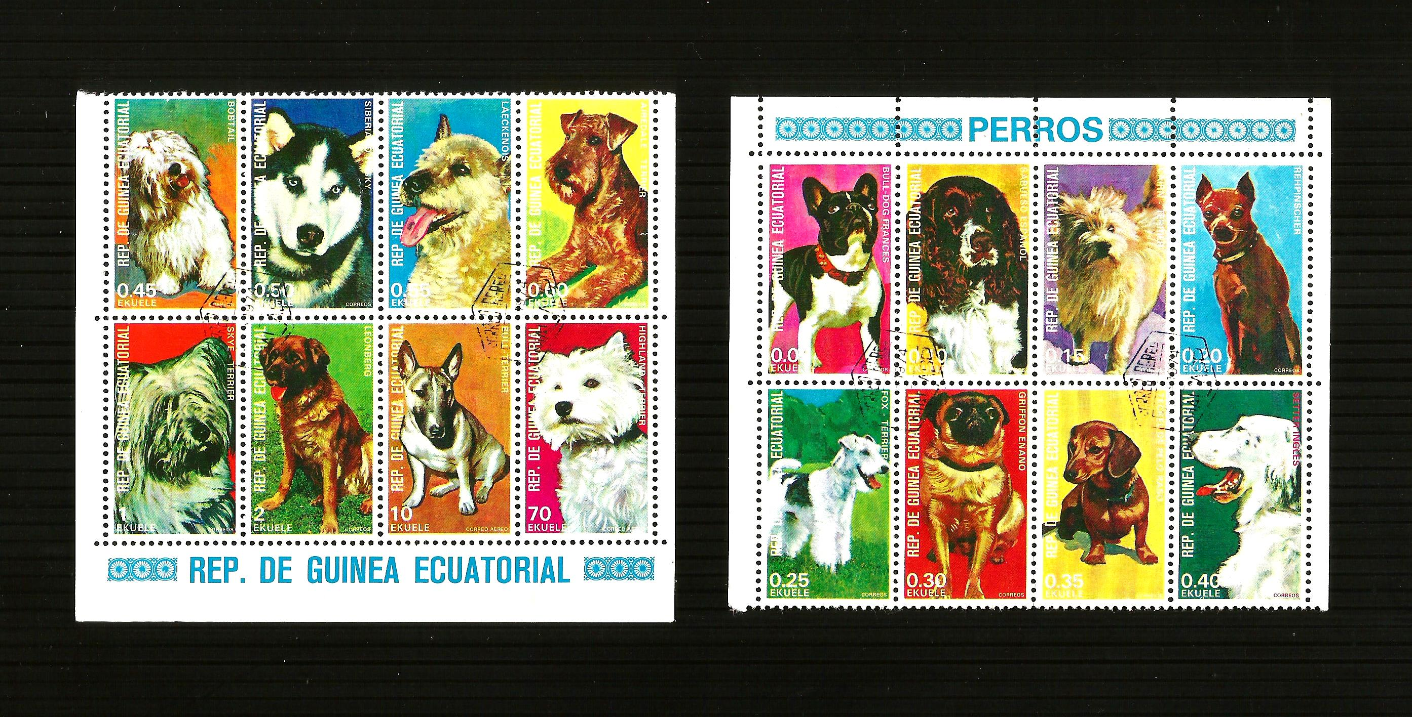 THEMATIC DOG POSTAGE  STAMPS  X 2 SHEETS CTO