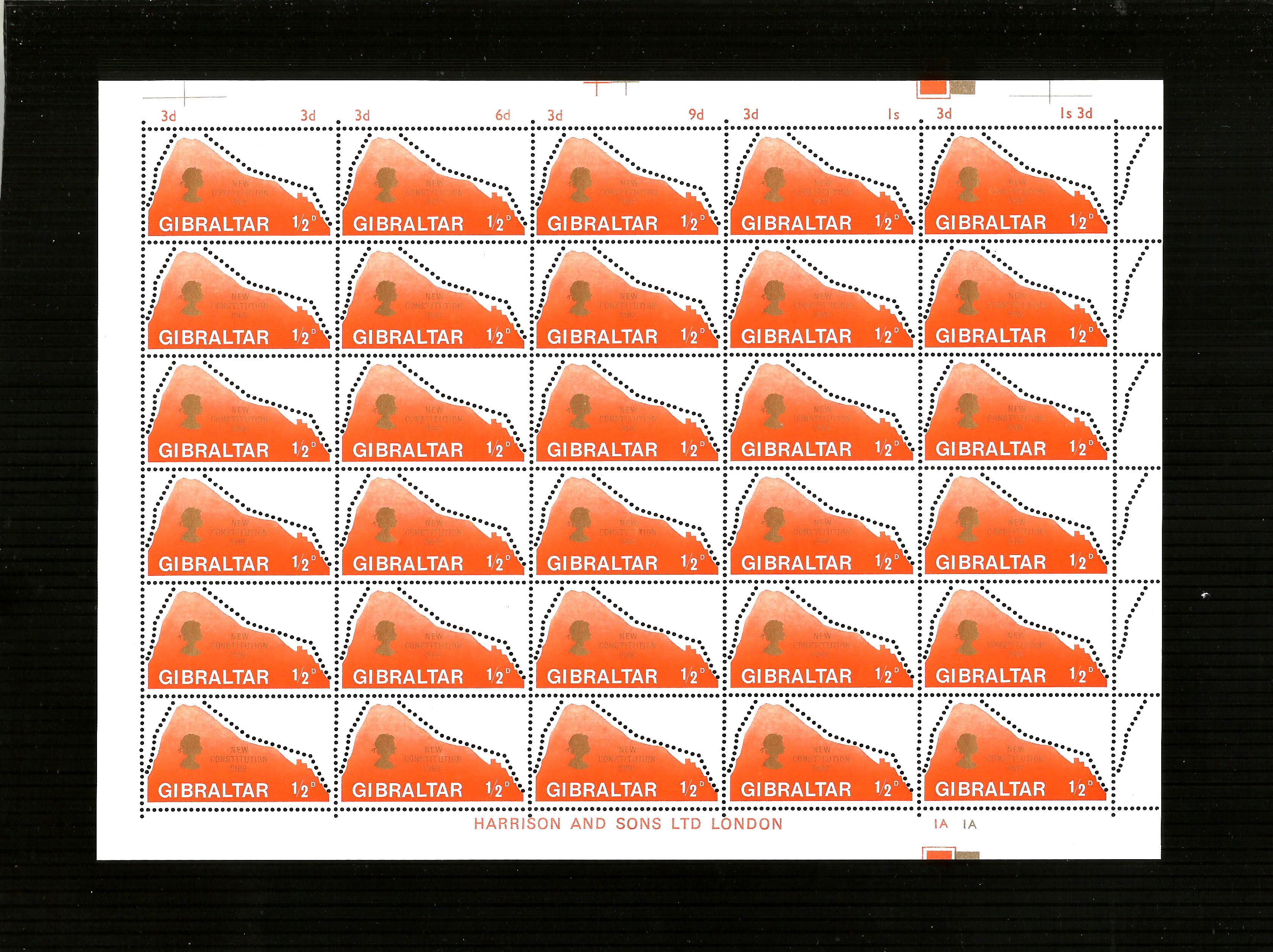 Gibralter, complete sheet of 1/2d New Constitution 1969 SG.236 M