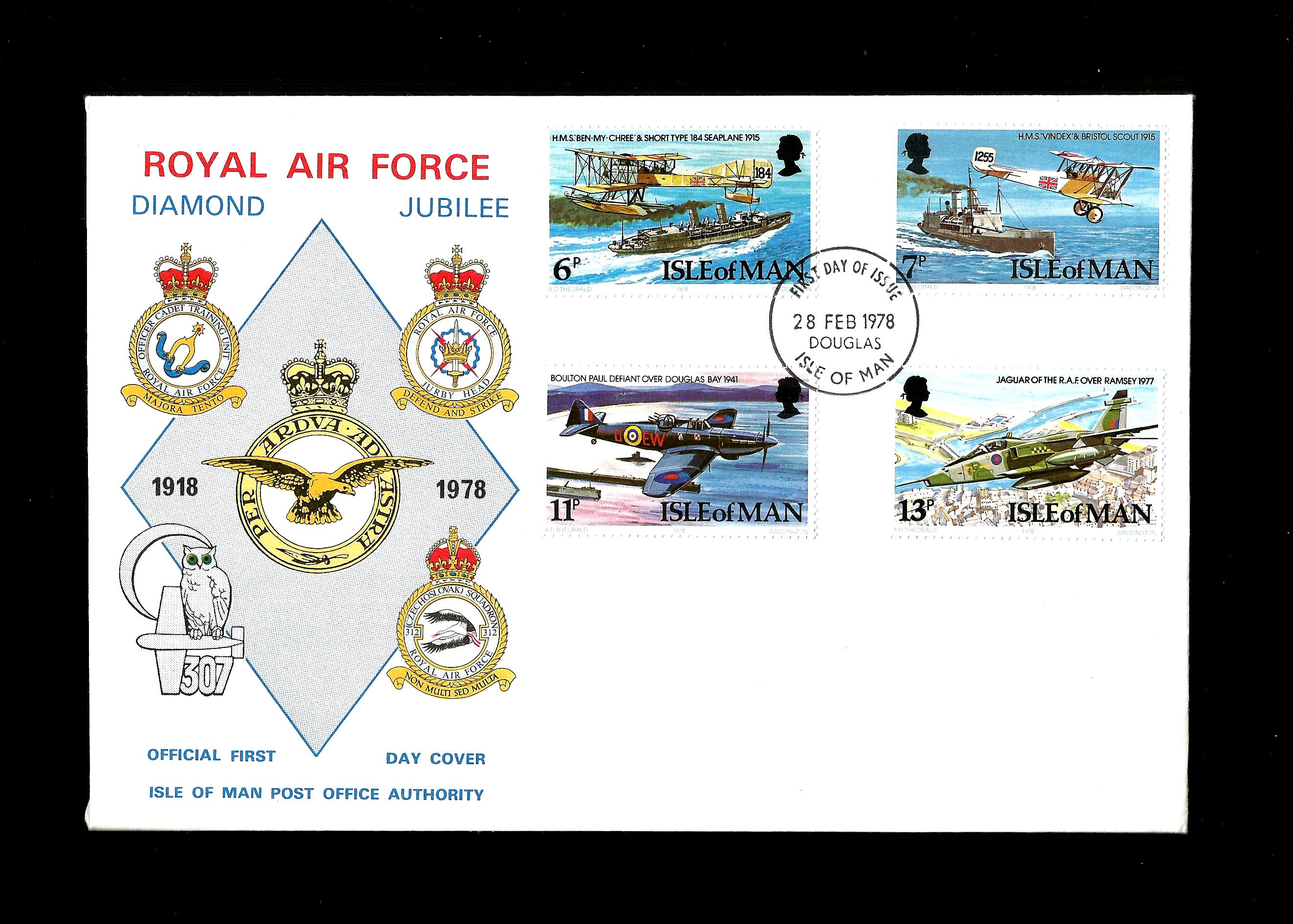 ISLE OF MAN - Royal Air Force, Fdc, 1978 Diamond Jubilee, Aviati