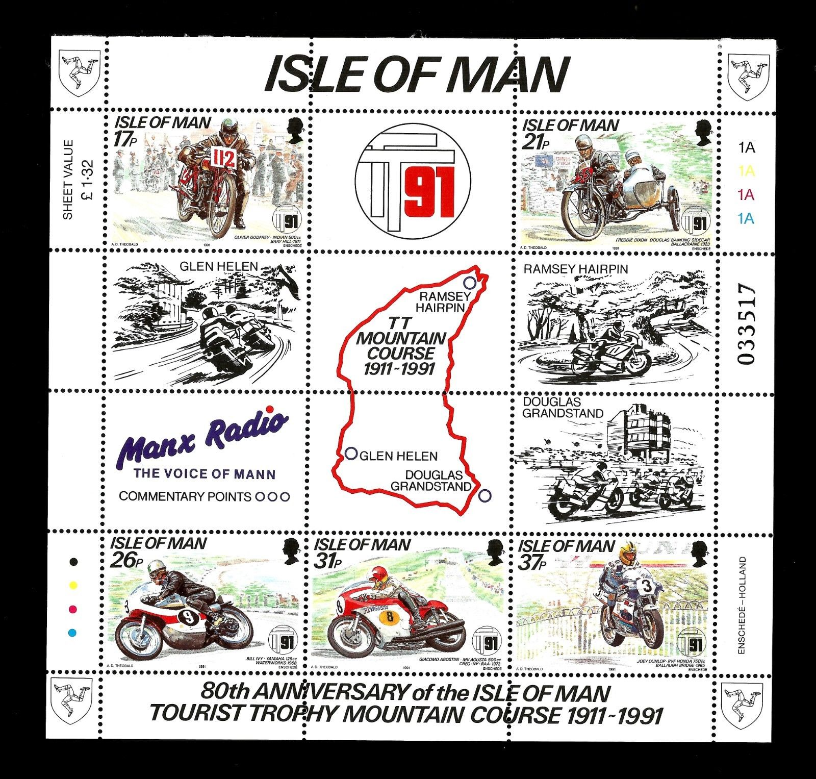 Isle of Man 1991 TT races Min sheet-Motorcycles-Motorbikes MNH