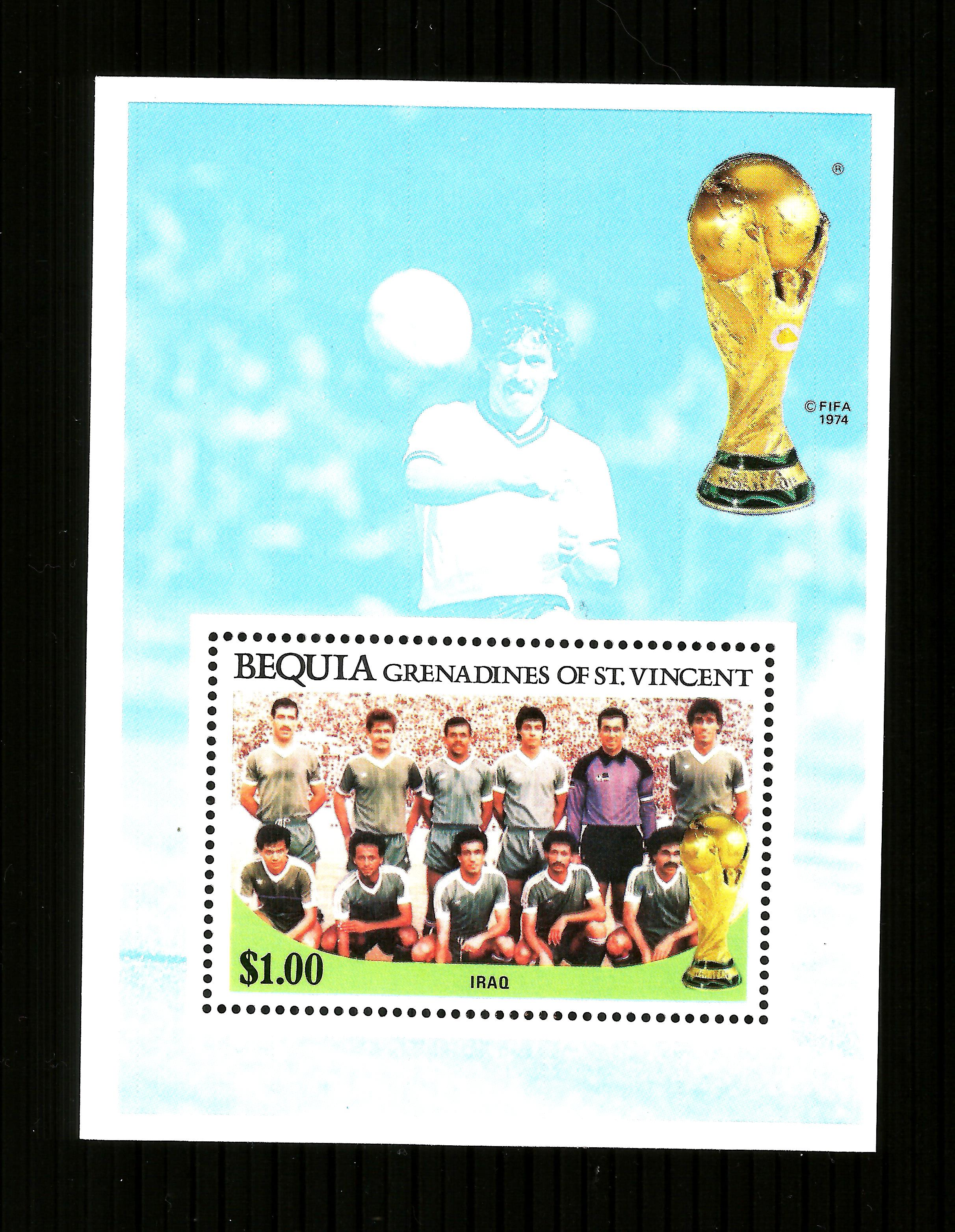St Vincent Bequia   1986 WORLD CUP FOOTBALL $1 m/sheet IRAQ ,MNH