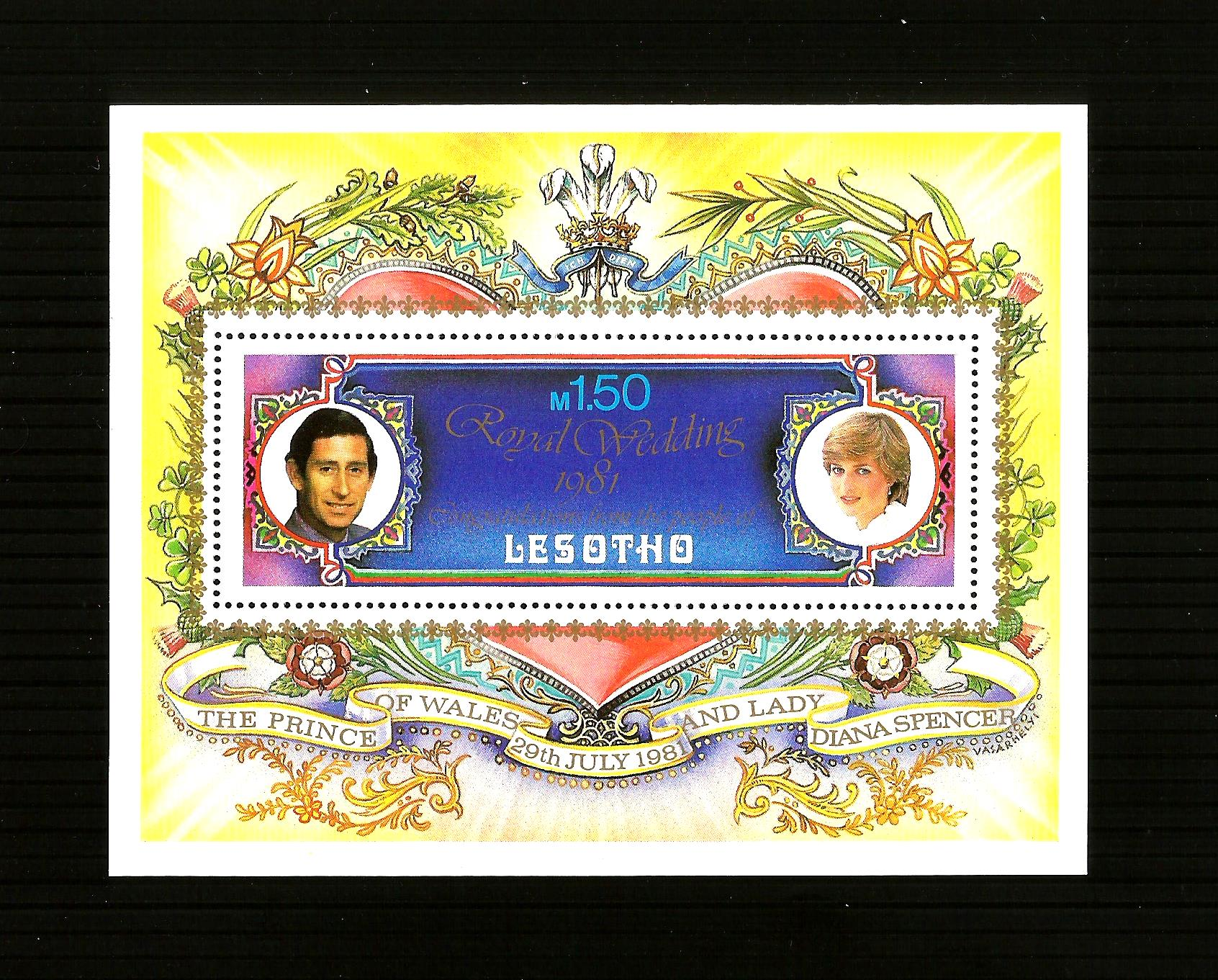 LESOTHO 1981 Royal Wedding Charles & Diana MNH Stamps Stamp Shee