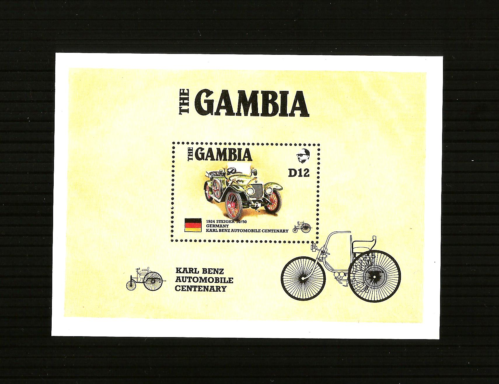 GAMBIA KARL BENZ AUTOMOBILE CENTENARY SOUVENIR MINIATURE SHEET M