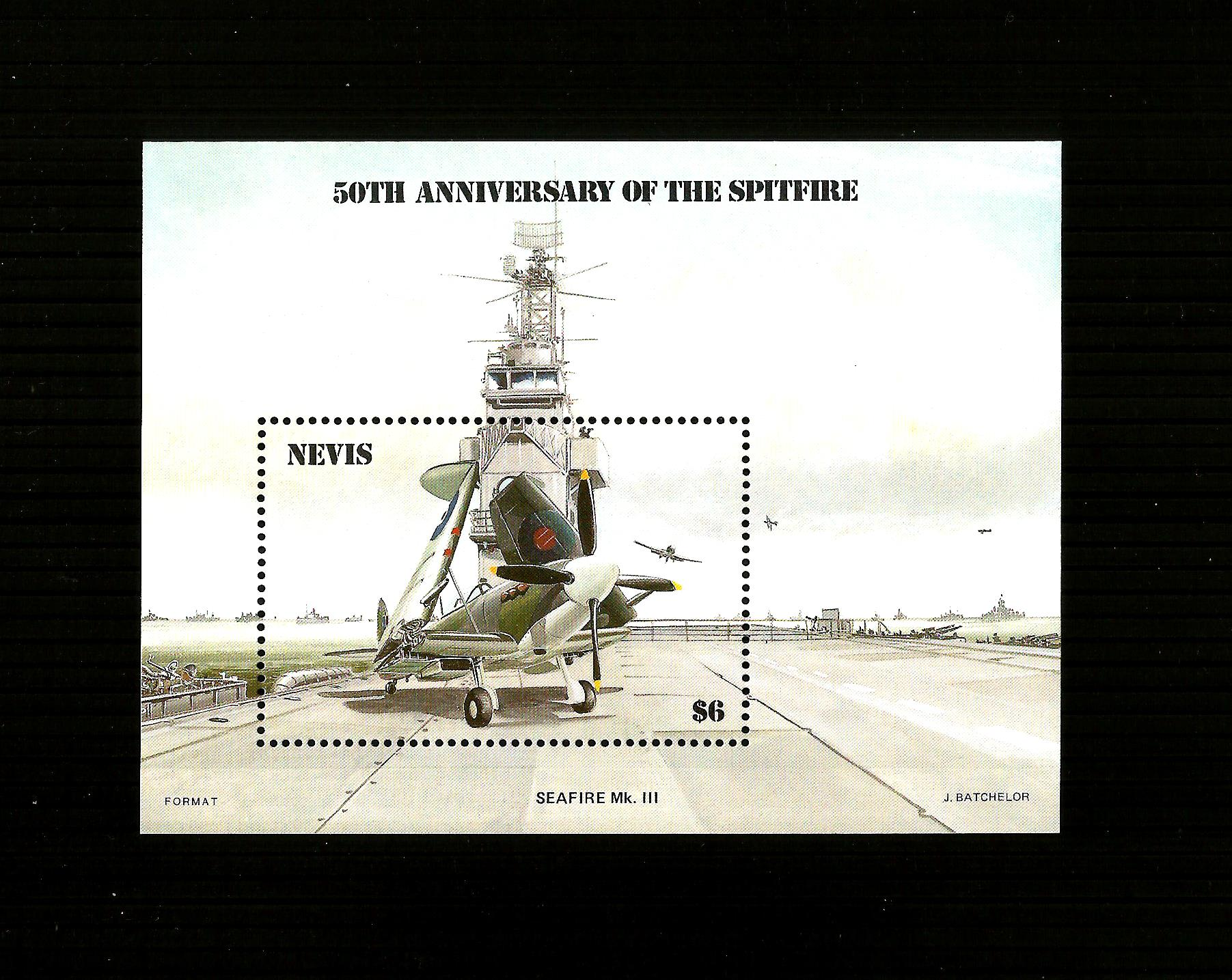 Nevis 1986 The 50th Anniversary of Spitfire M/S M/MINT
