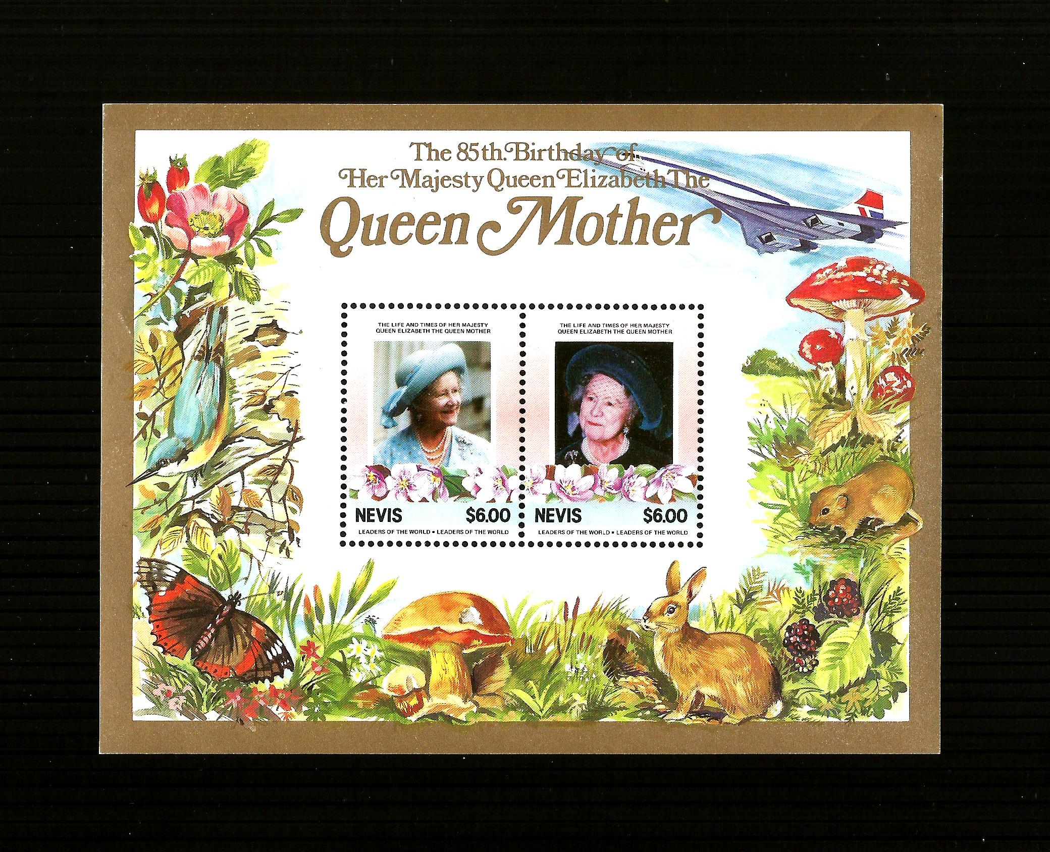 NEVIS: 1985 Queen Mother's Birthday  M/Sheet M/M