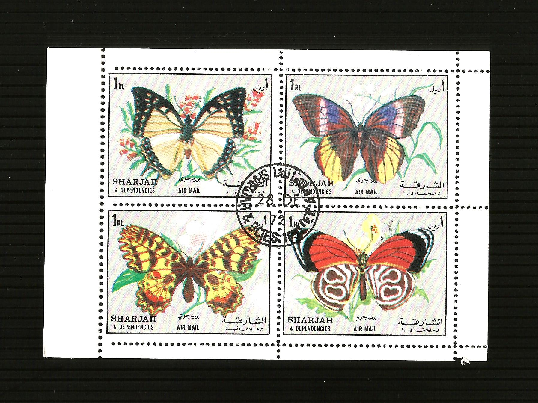 Sharjah. 1972.   Butterflies.  Sheetlet.  MNH