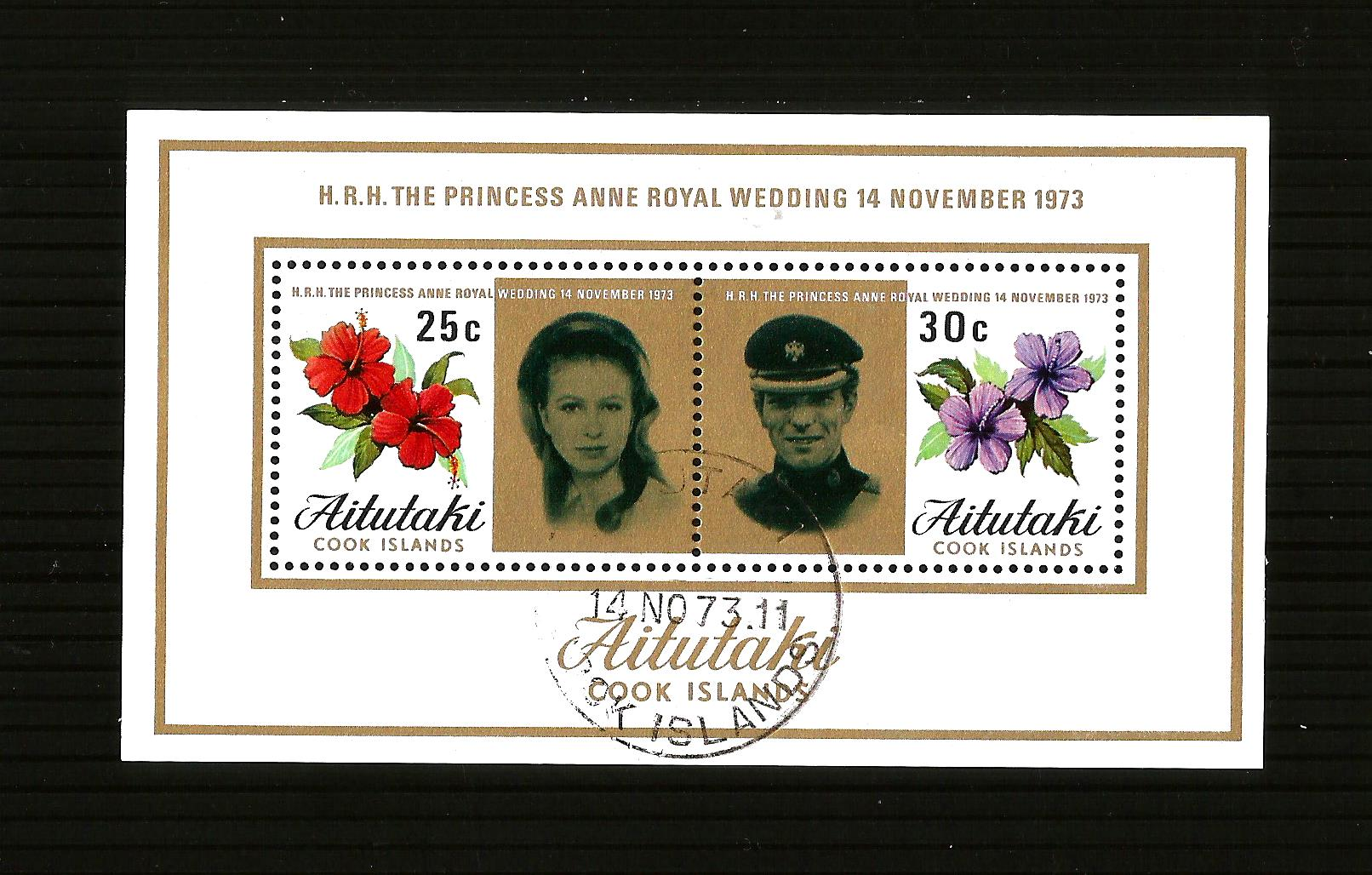 Aitutaki 1973 SG84 Princess Anne Wedding MS FU pmk 14nov73