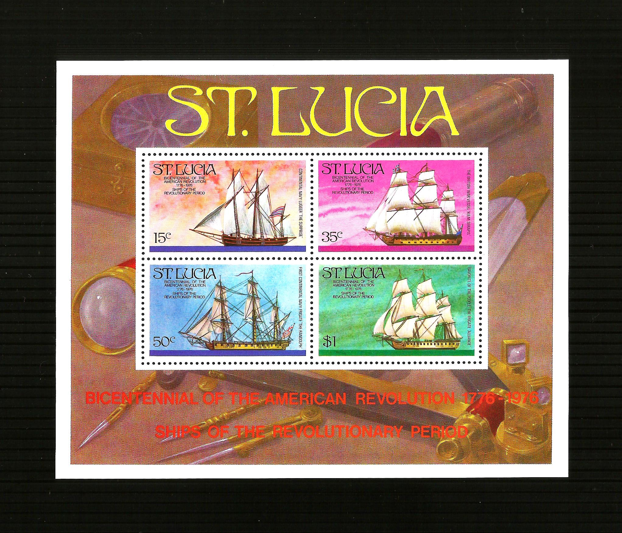 200 MIDDLE St Lucia - 1976, American Revolution (Ships) sheet -