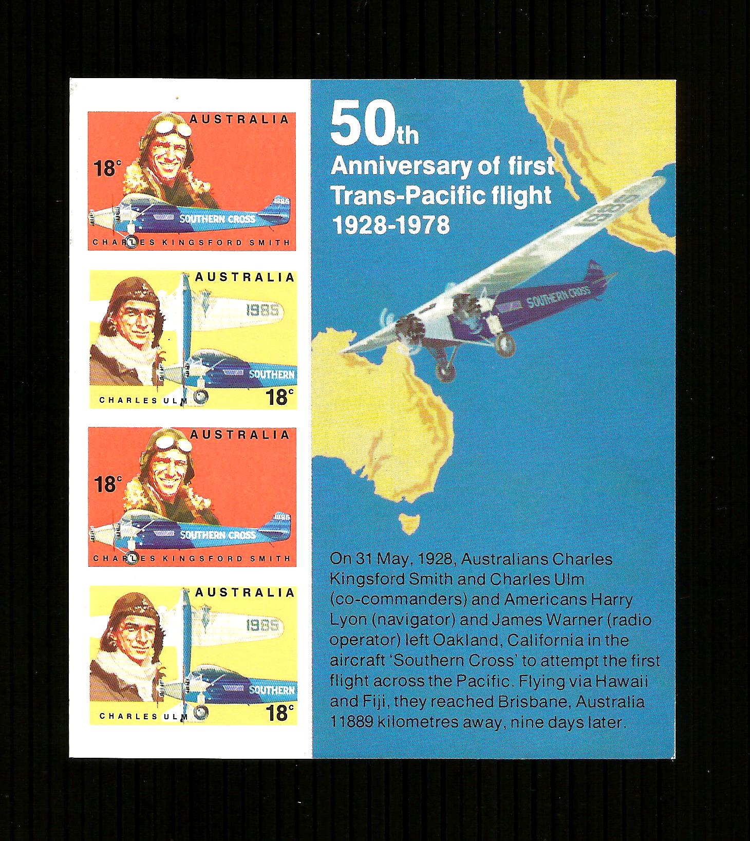 Australian Stamps: 1978 50th Anniversary Trans-Pacific Flight -