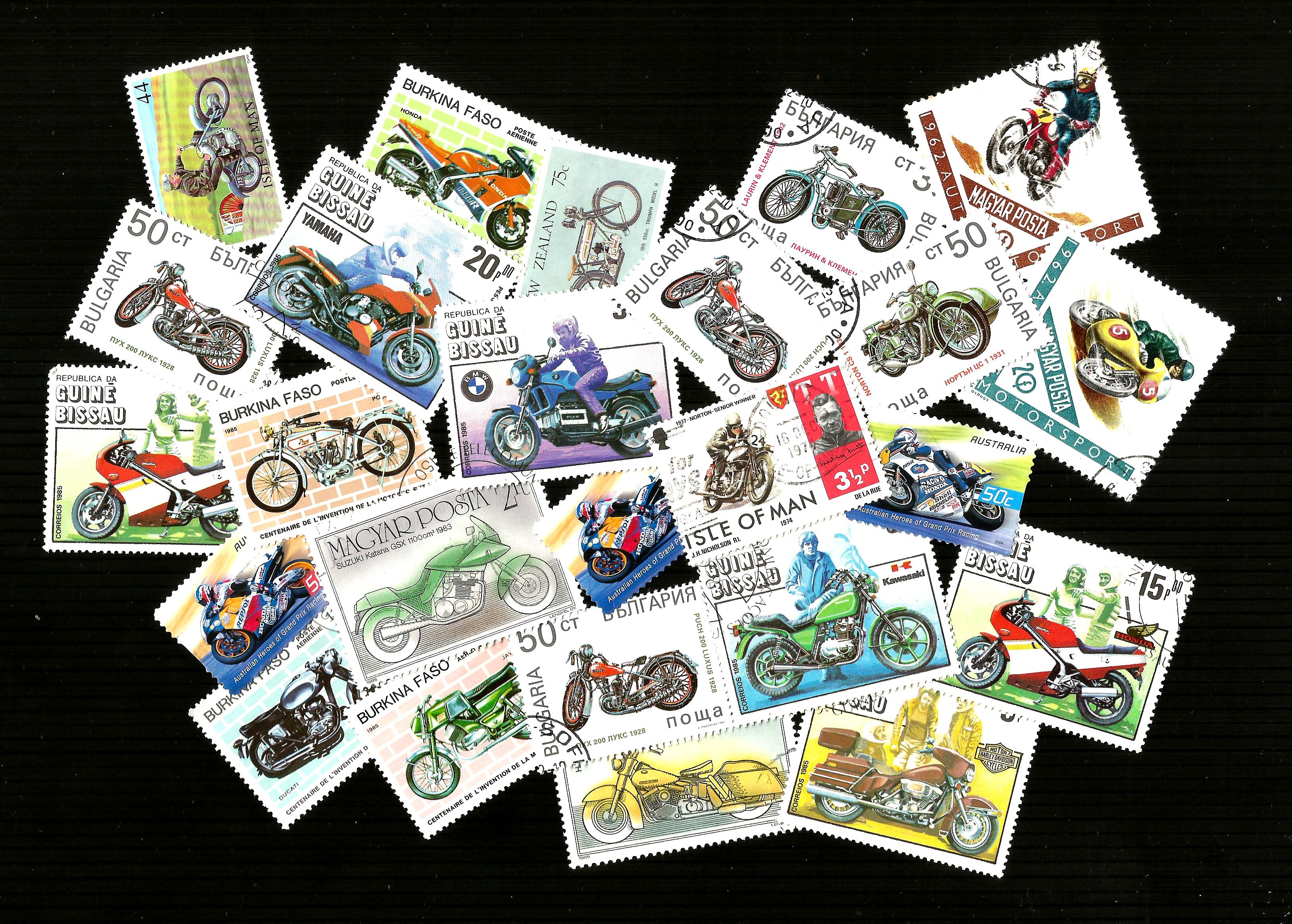 THEMATIC 25 MOTORCYCLE POSTAGE STAMPS  CTO USED