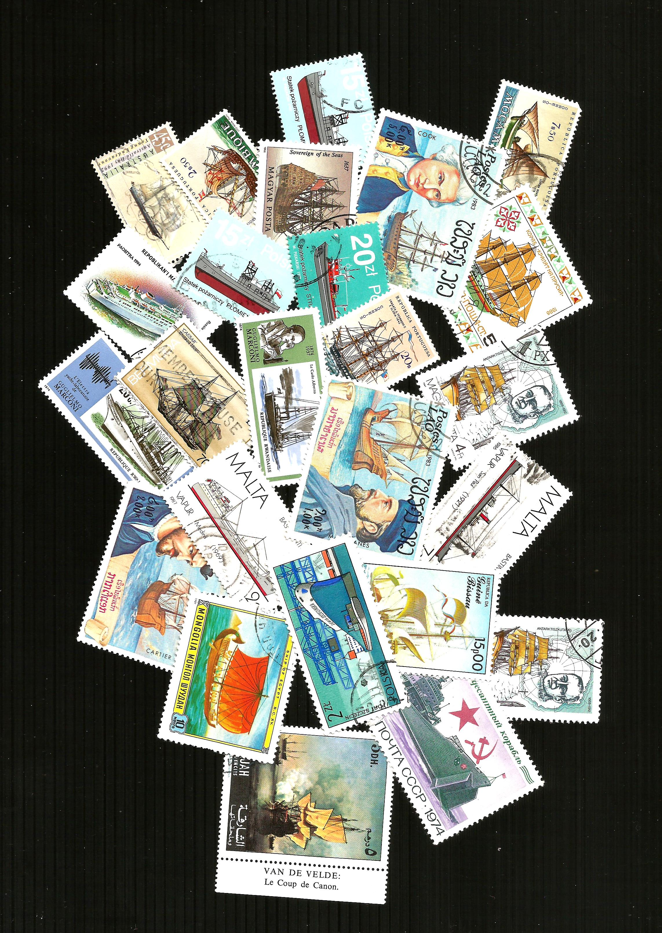 25 THEMATIC SHIP SELECTION  POSTAGE STAMPS CTO
