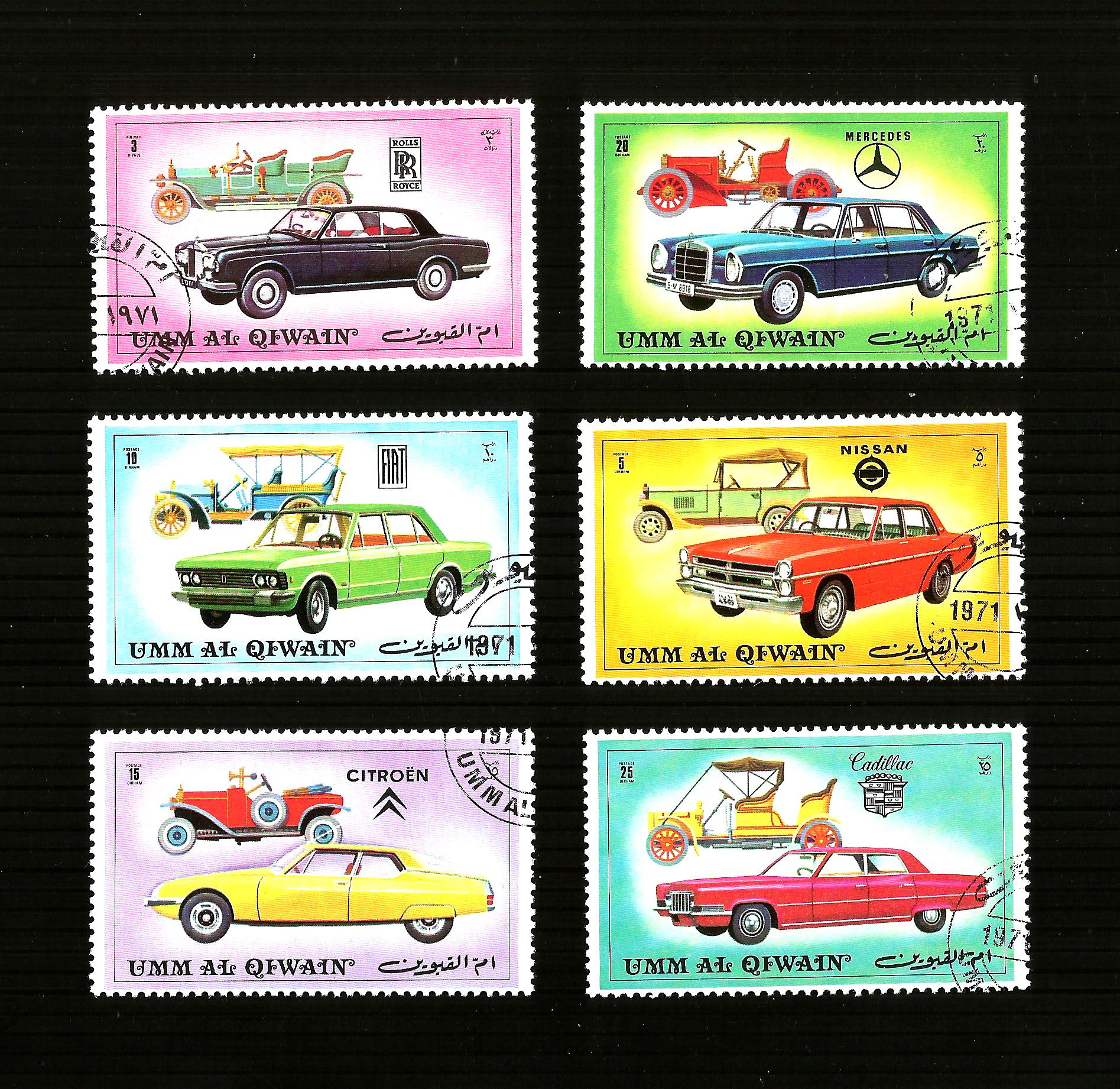 UMM AL QIWAIN  cars  6x POSTAGE STAMPS 1971 UNITED ARAB EMIRATES