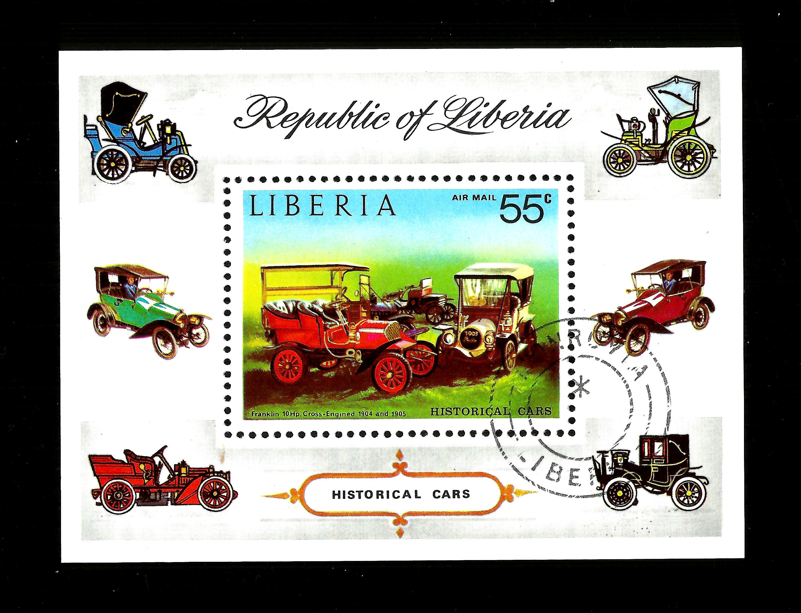 Liberia 1973.   Historical Cars. mini sheet cto