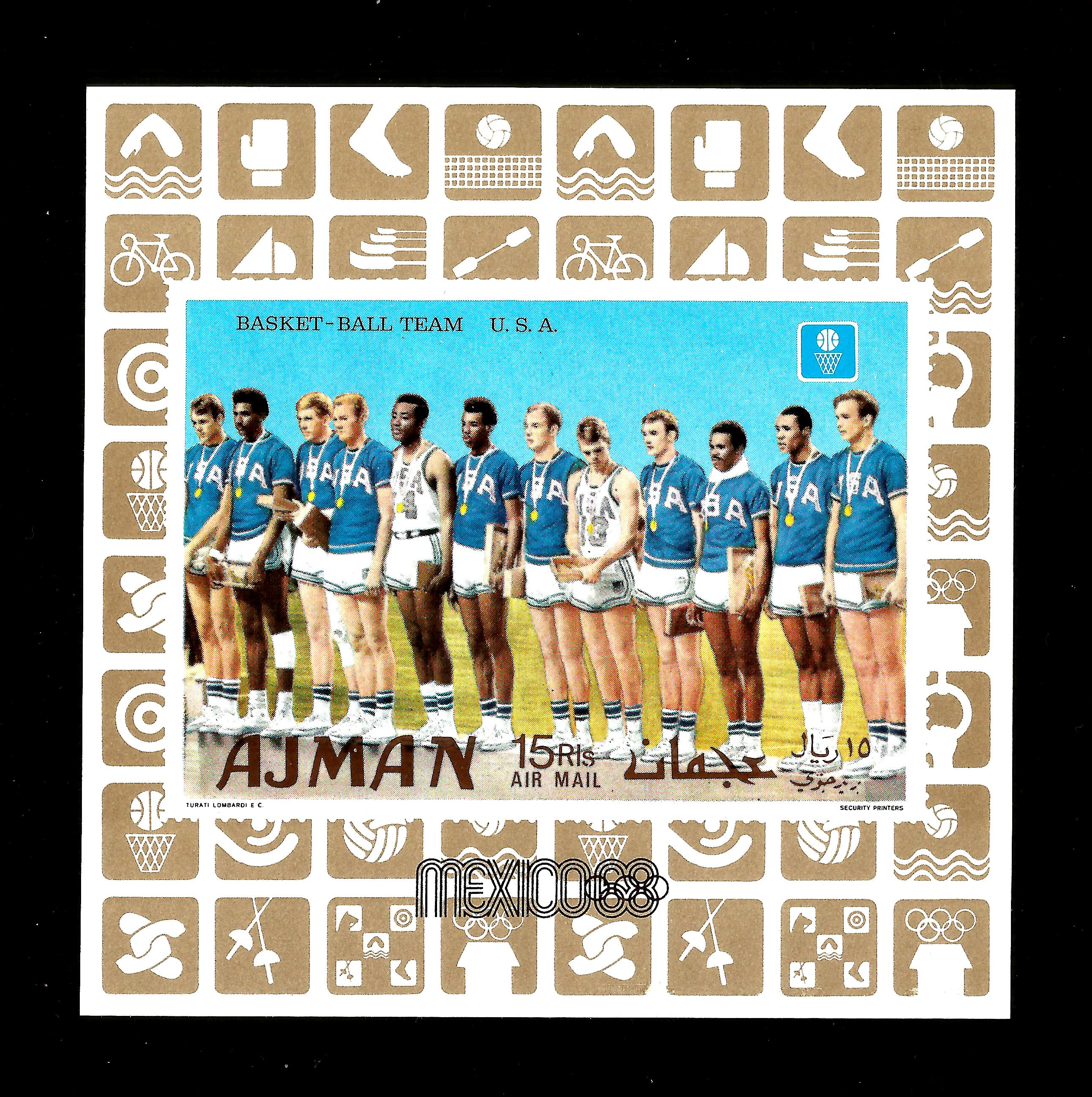 Ajman  1968  MNH Olympiade Mexico  1968  usa basket ball team