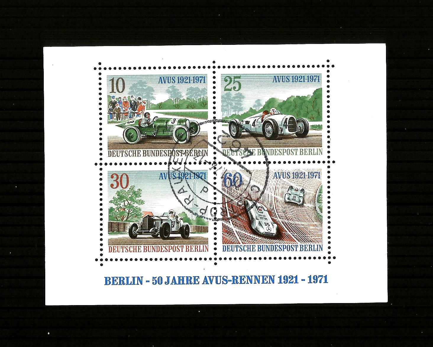 BERLIN GERMANY 1971 MSB395 50th Avus Motor-racing Mini Sheet  us