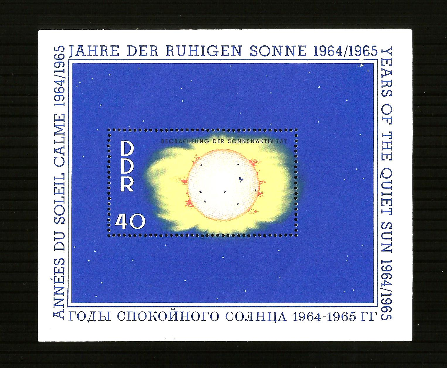 GERMANY - 1965 YEARS OF THE QUIET SUN - MIN. SHEET MINT NH