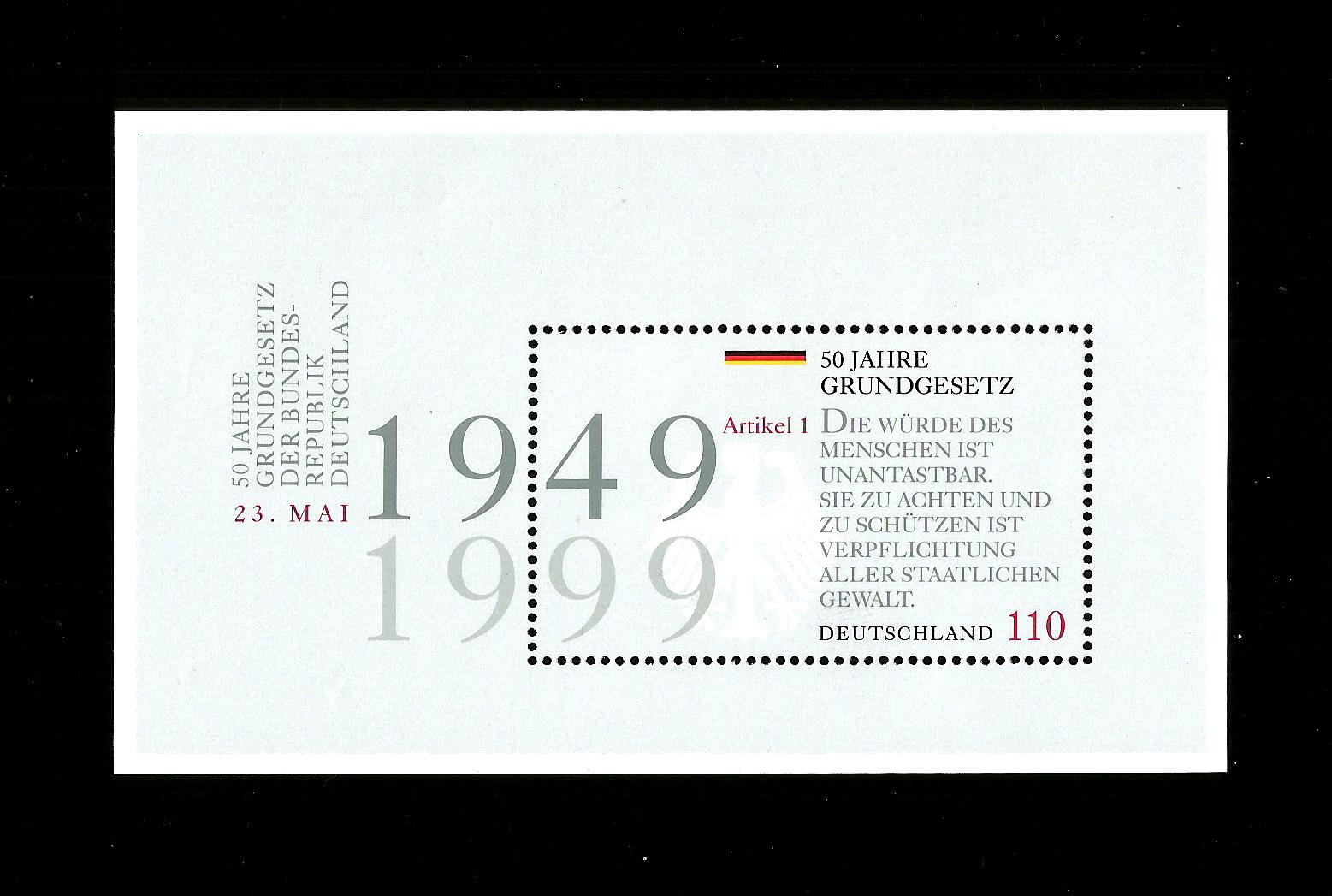 GERMANY MNH 1999 MS2905 50th Anniversary of the New Constitution