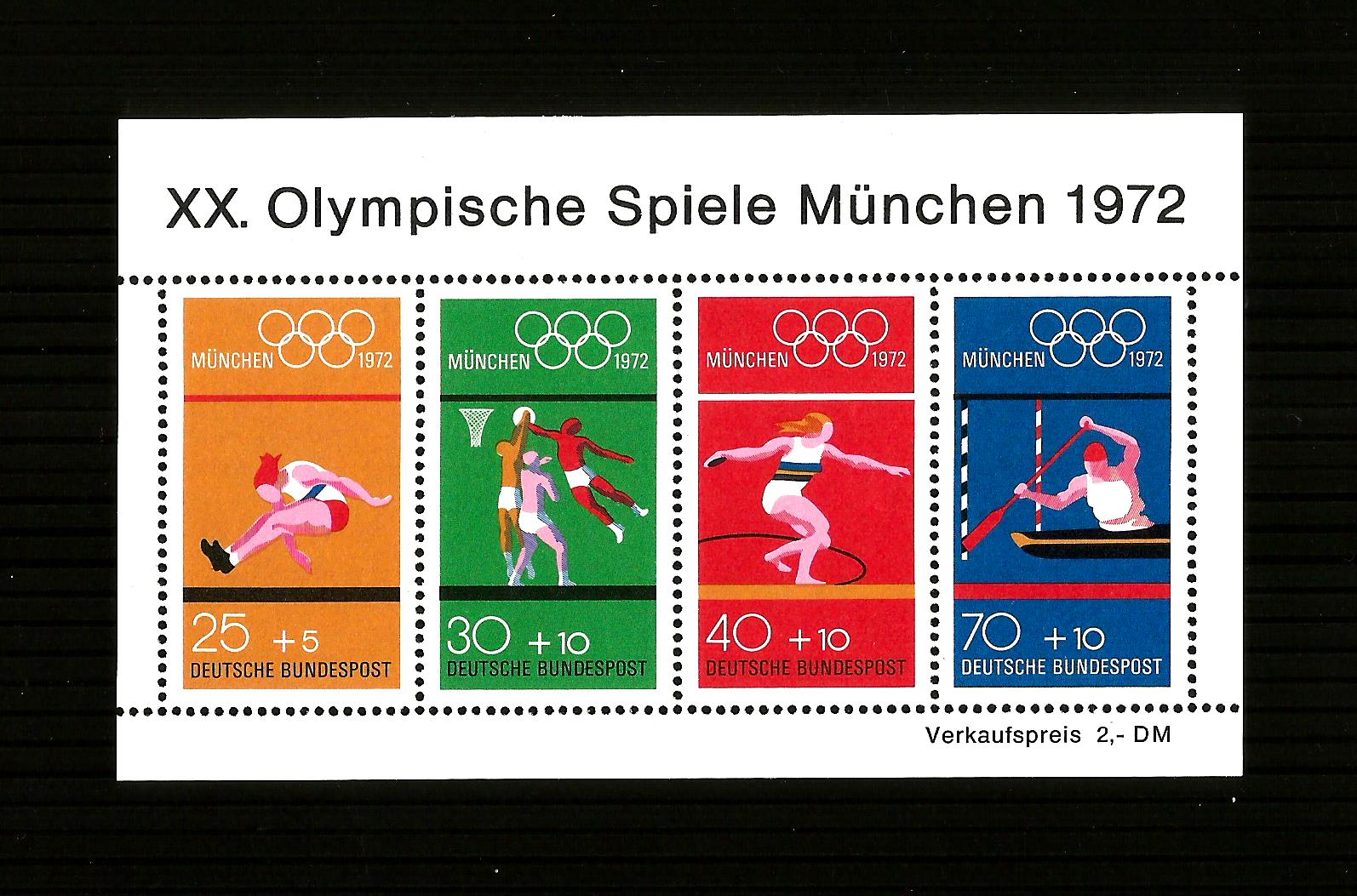 1972 Munich Olympic Games. Mini-sheet. MNH