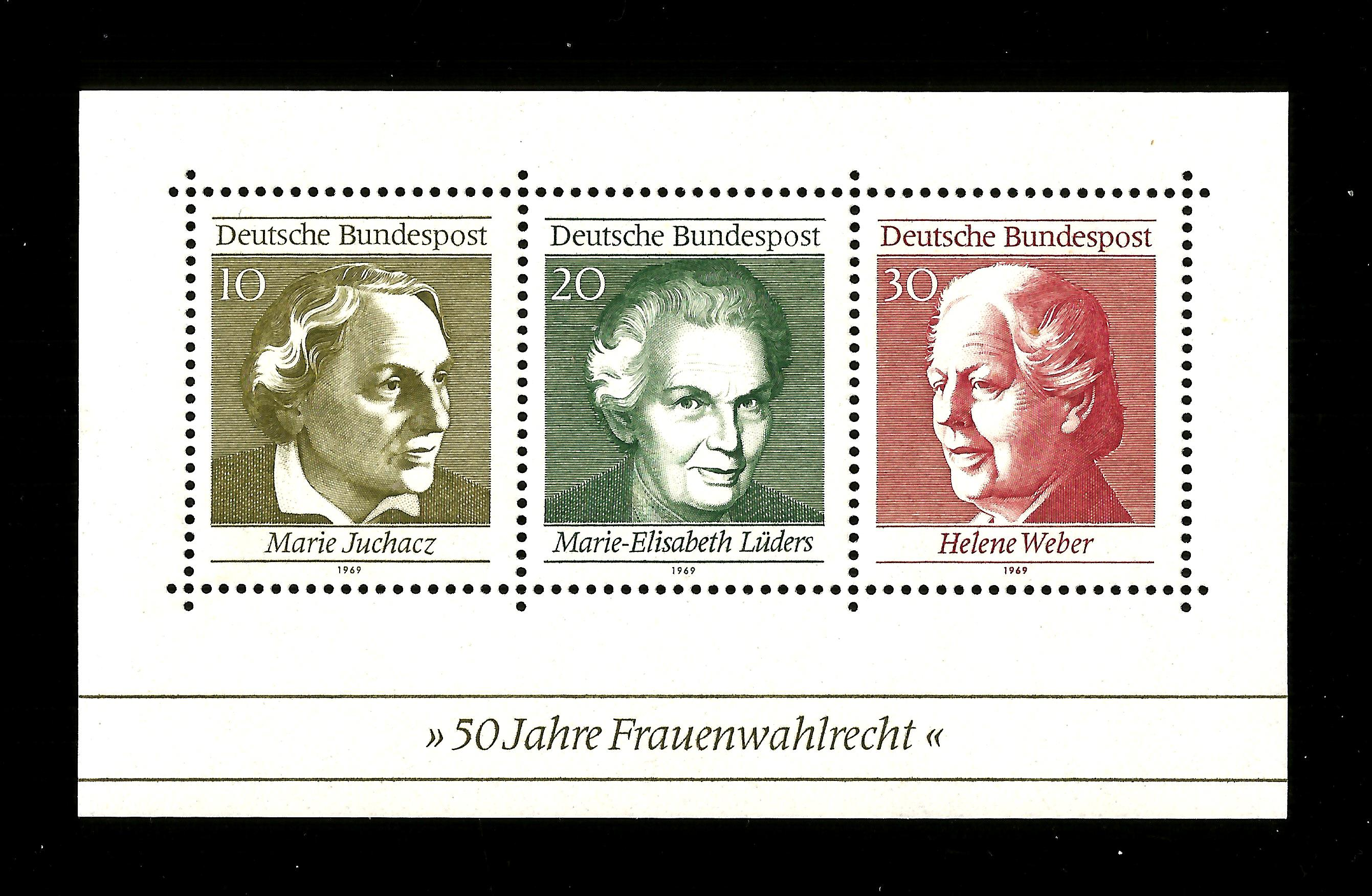 GERMANY 1969 SG MS1499 Fifty Years of German Women's Suffrag Min