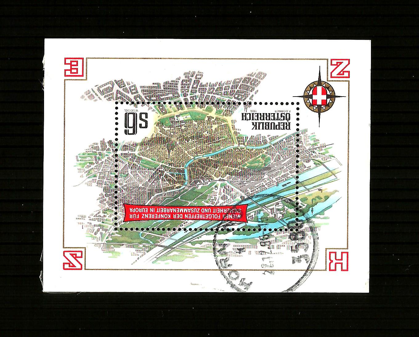 AUSTRIA - 1986 F/USED EUROPEAN COOPERATION CONFERENCE M/SHEET.