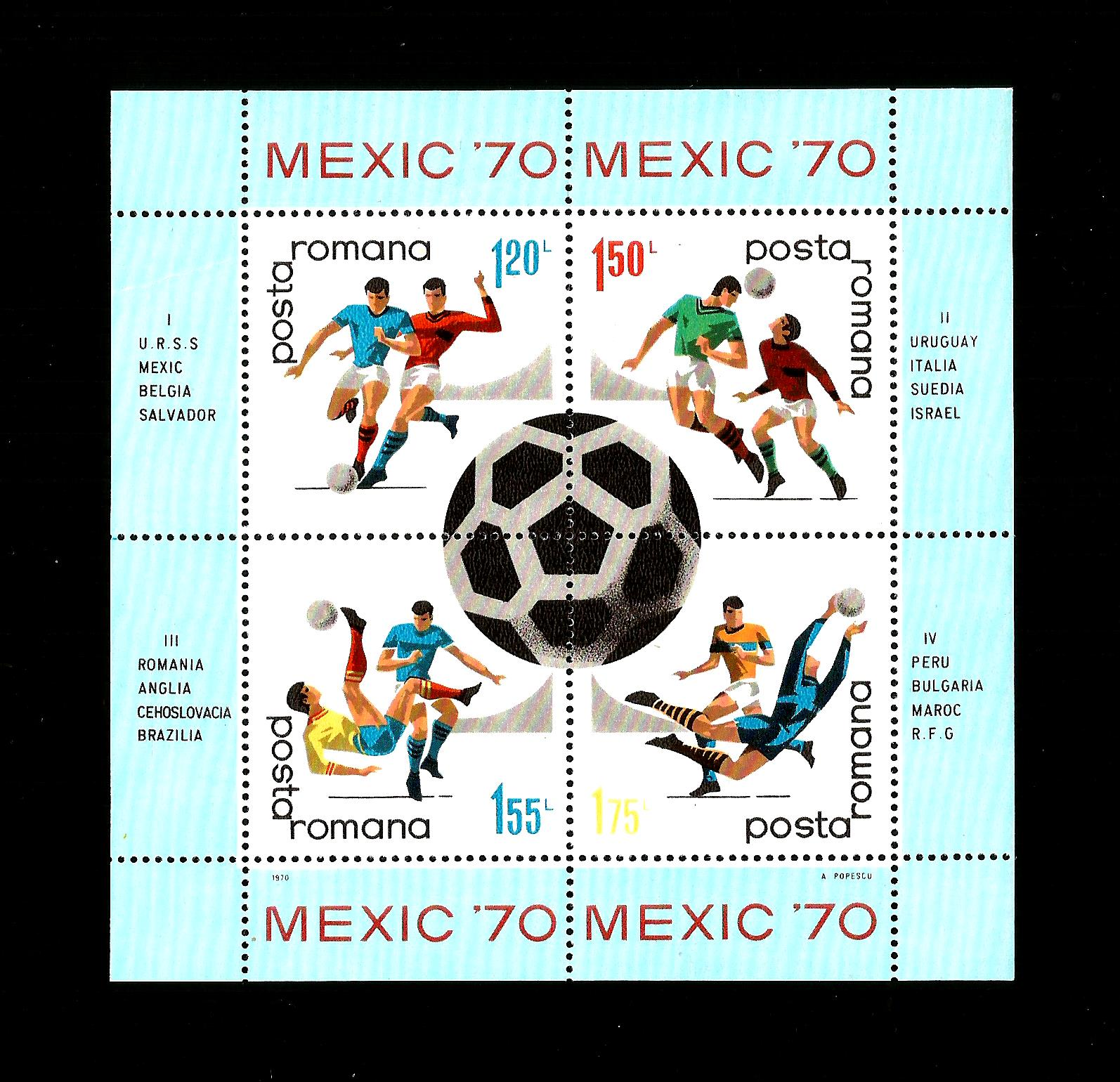 ROMANIA MNH 1970 MS3735 WORLD CUP FOOTBALL CHAMPIONSHIPS
