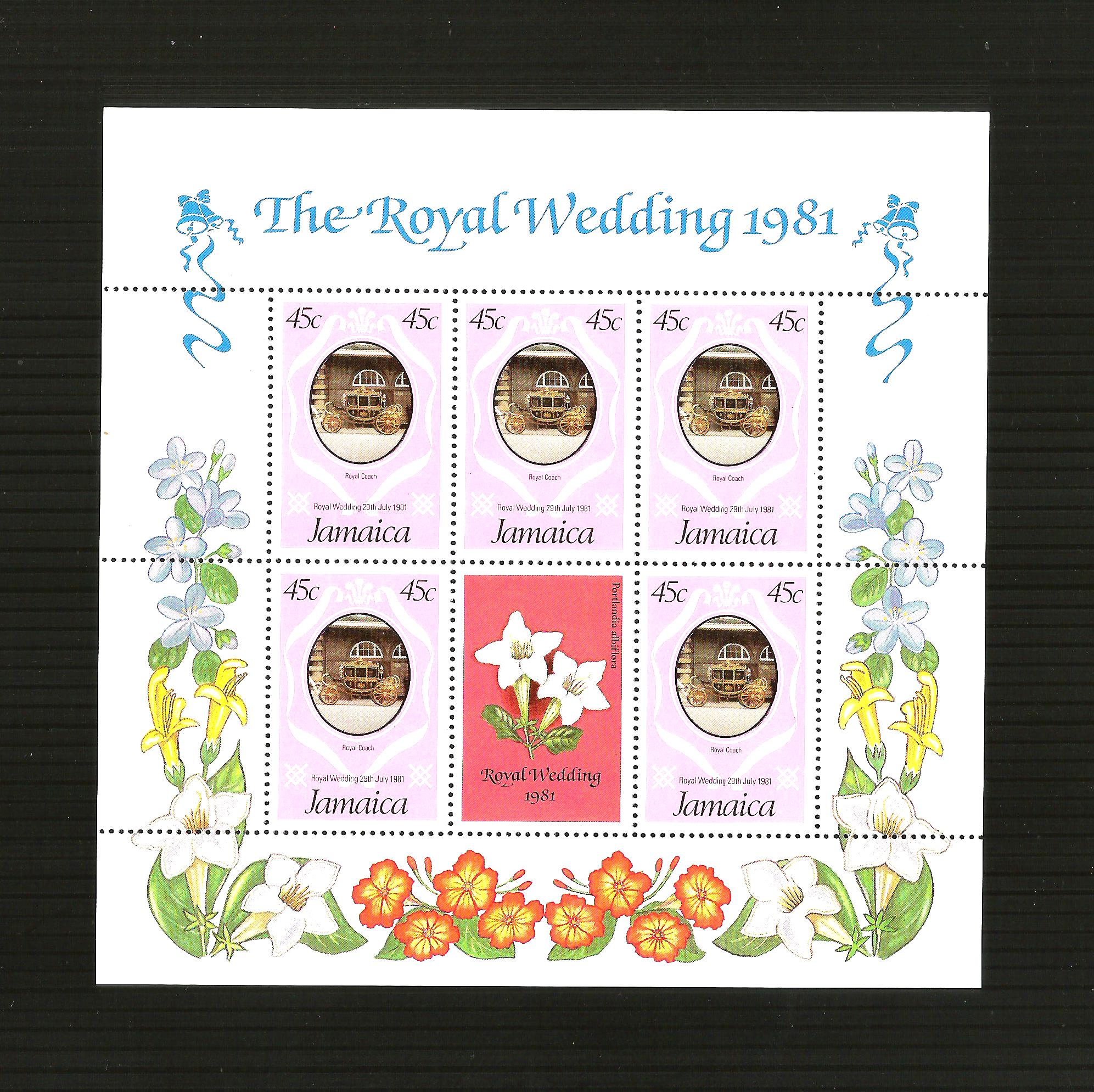 1981 Jamaica Royal Wedding Sheet Stamps,Mint Never Hinged/MNH